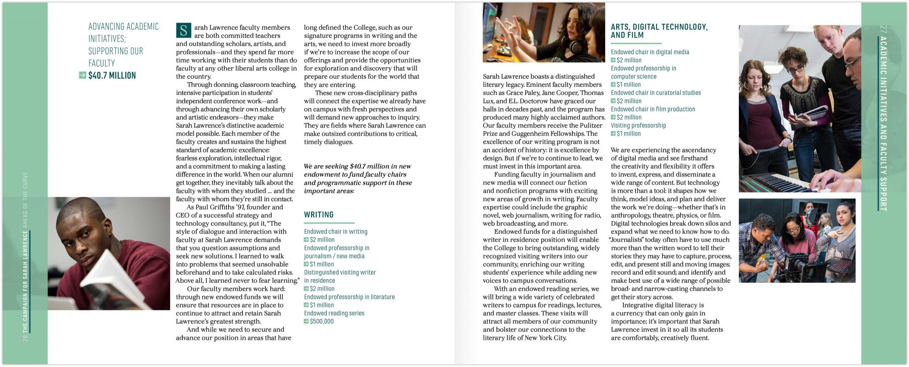 Campaign brochure interior page spread