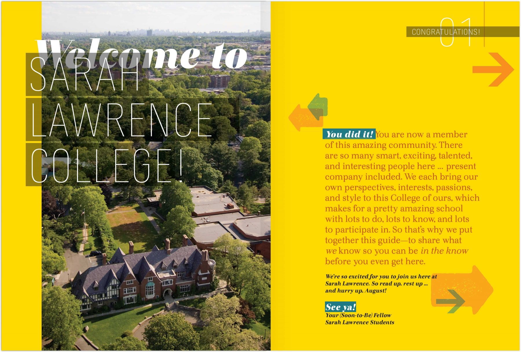 Student Guide Welcome to Sarah Lawrence College page