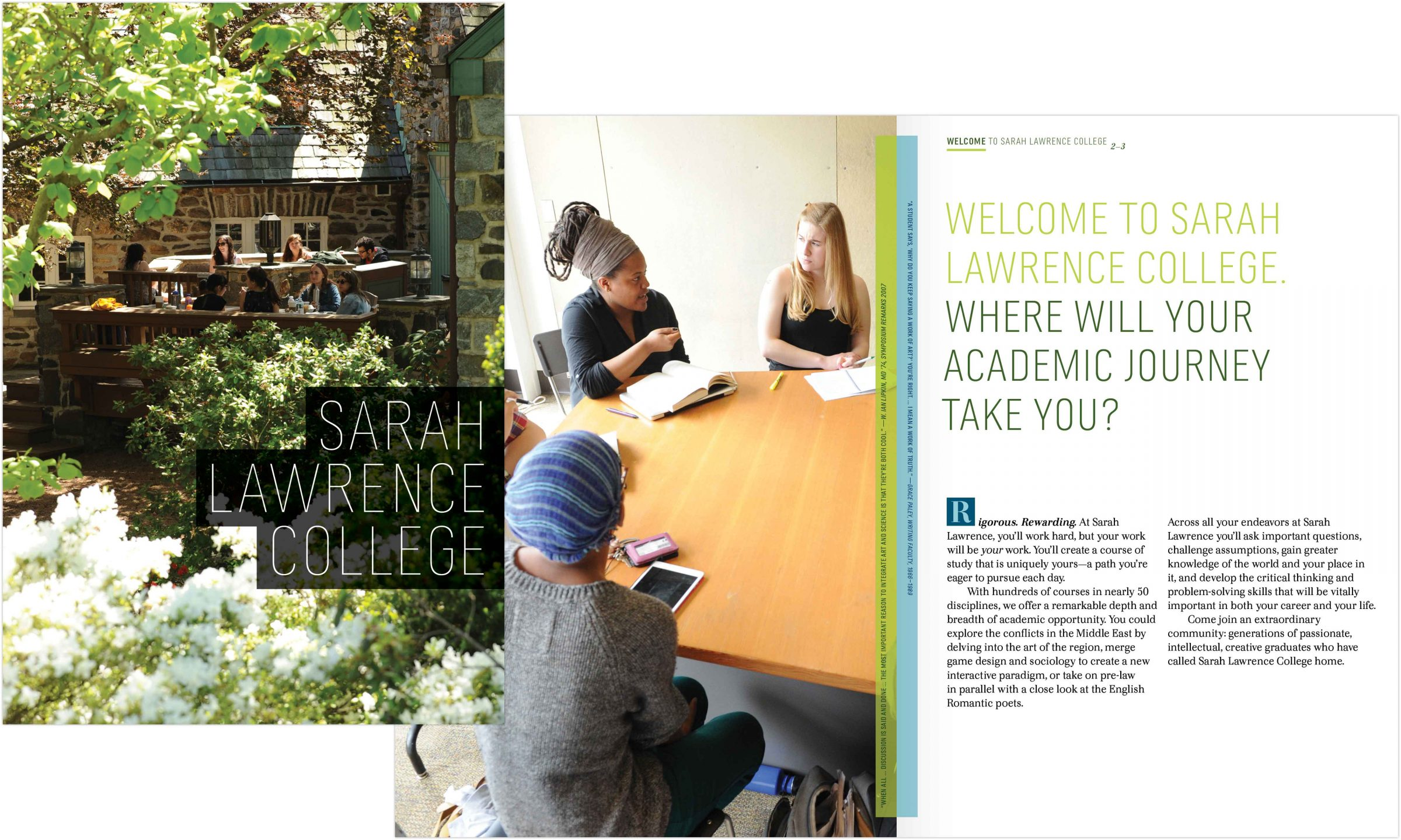 Sarah Lawrence College viewbook spread
