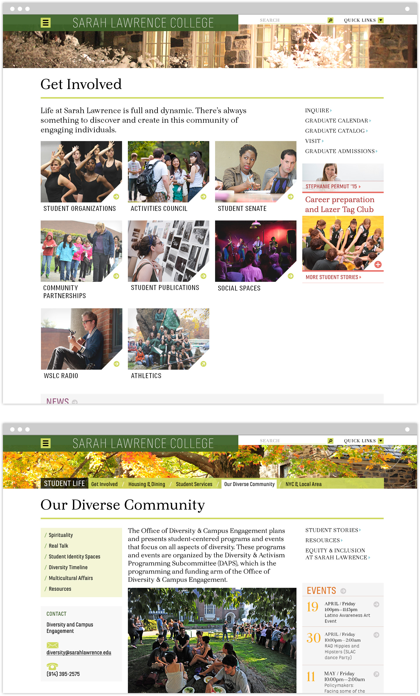 Get Involved and Our Diverse Community interior pages