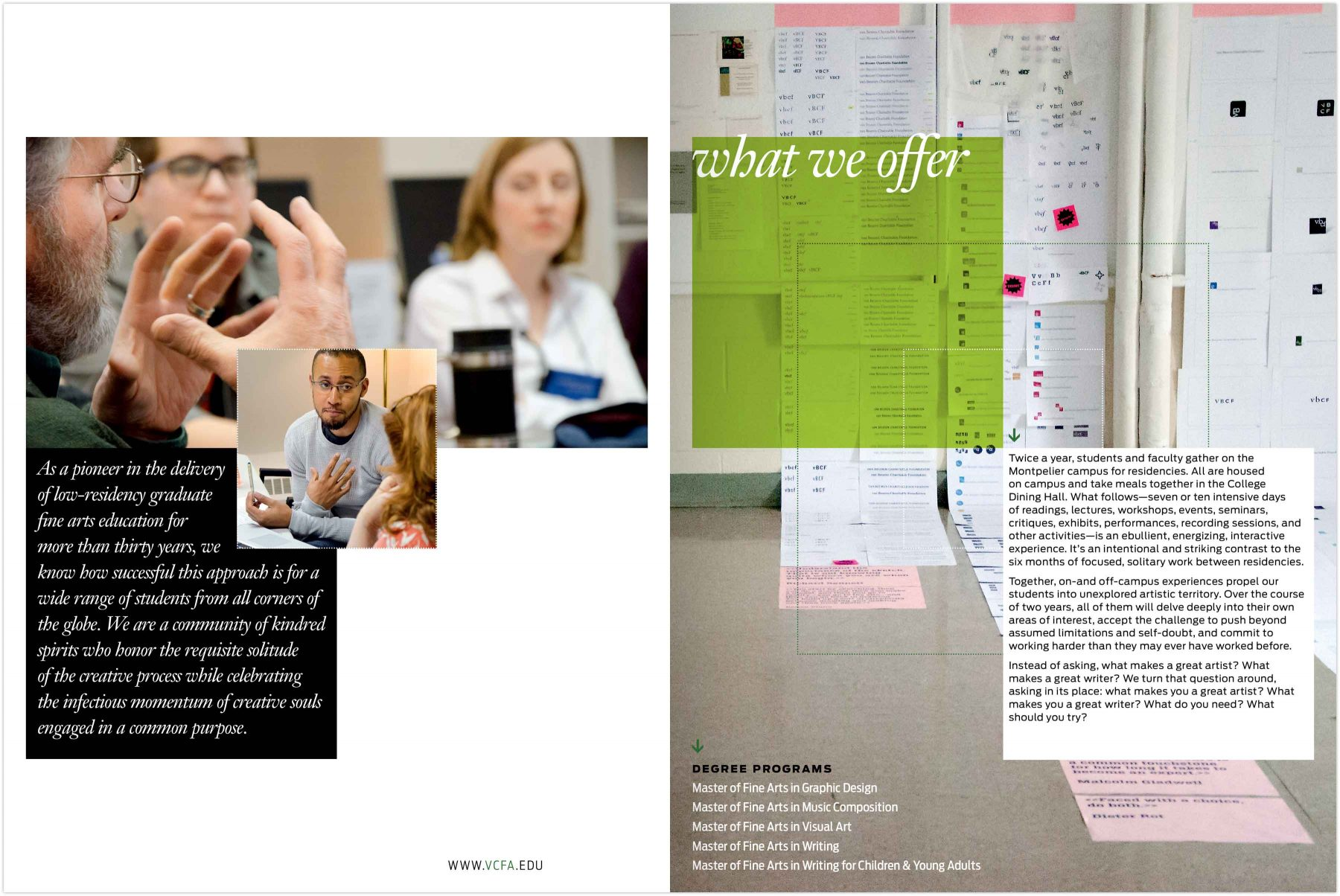 Viewbook spread: What we offer