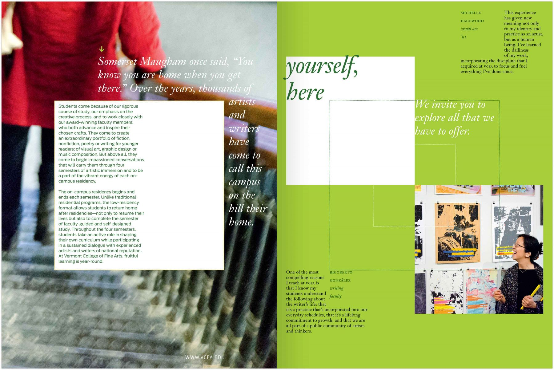 Viewbook spread: Yourself, here