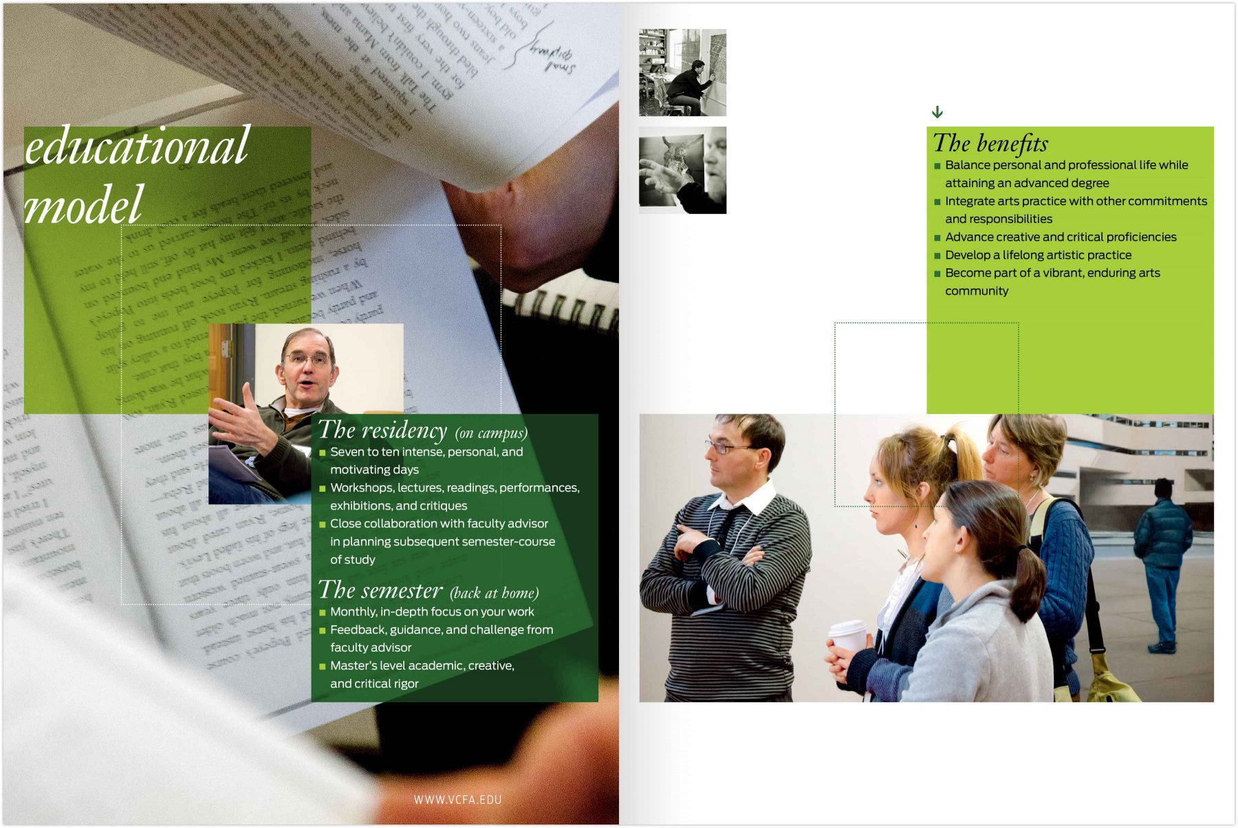 Viewbook spread: Educational model