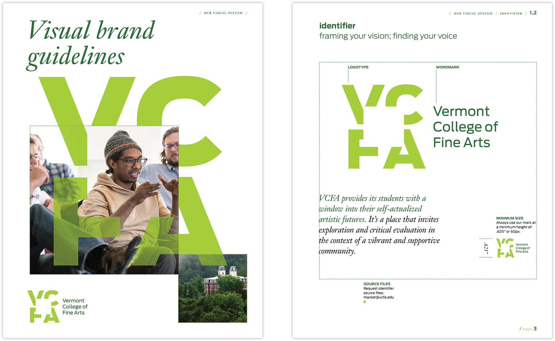 Visual brand guidelines spread