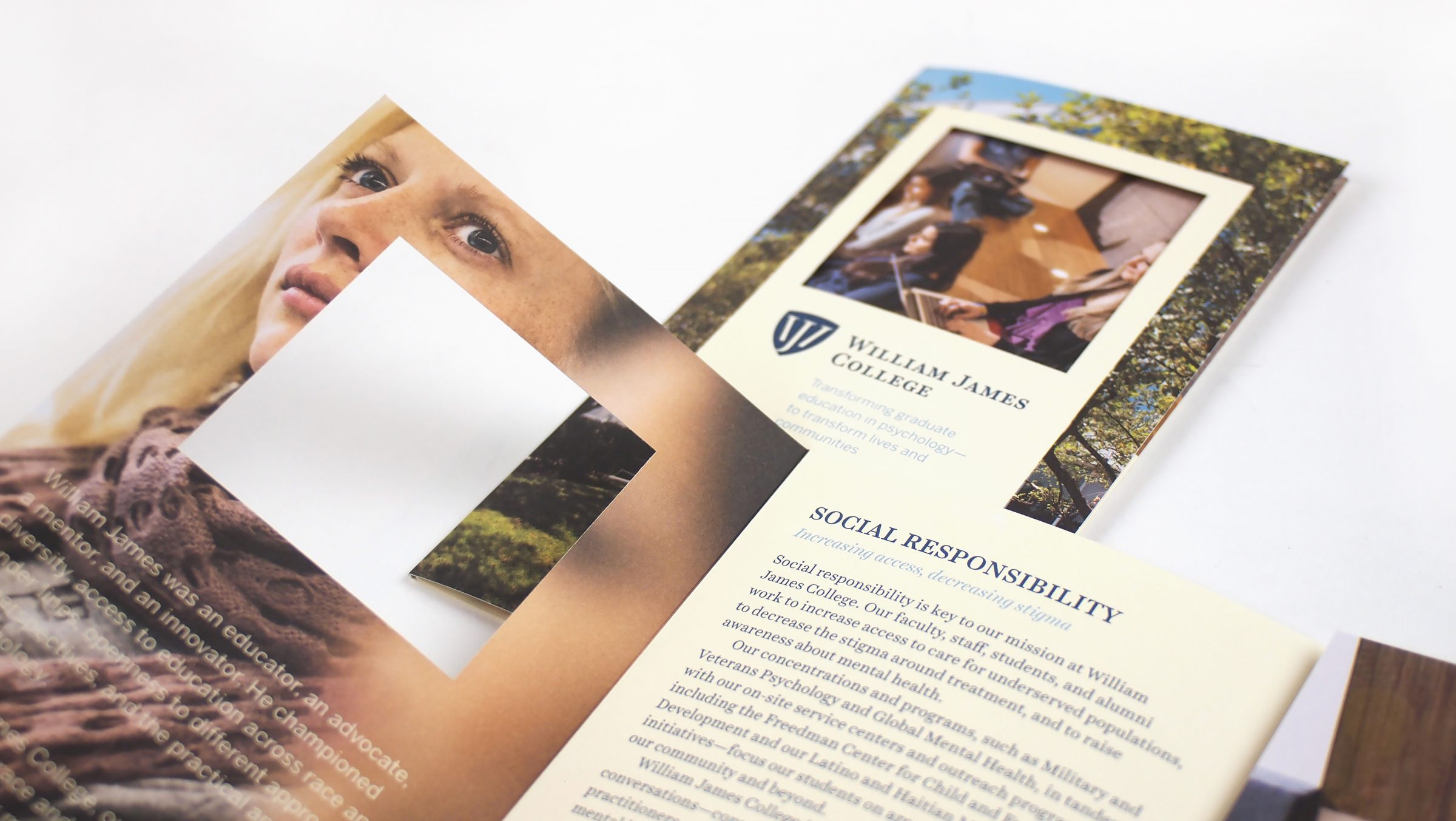 William James College brochure cover and interior: Social Responsibility