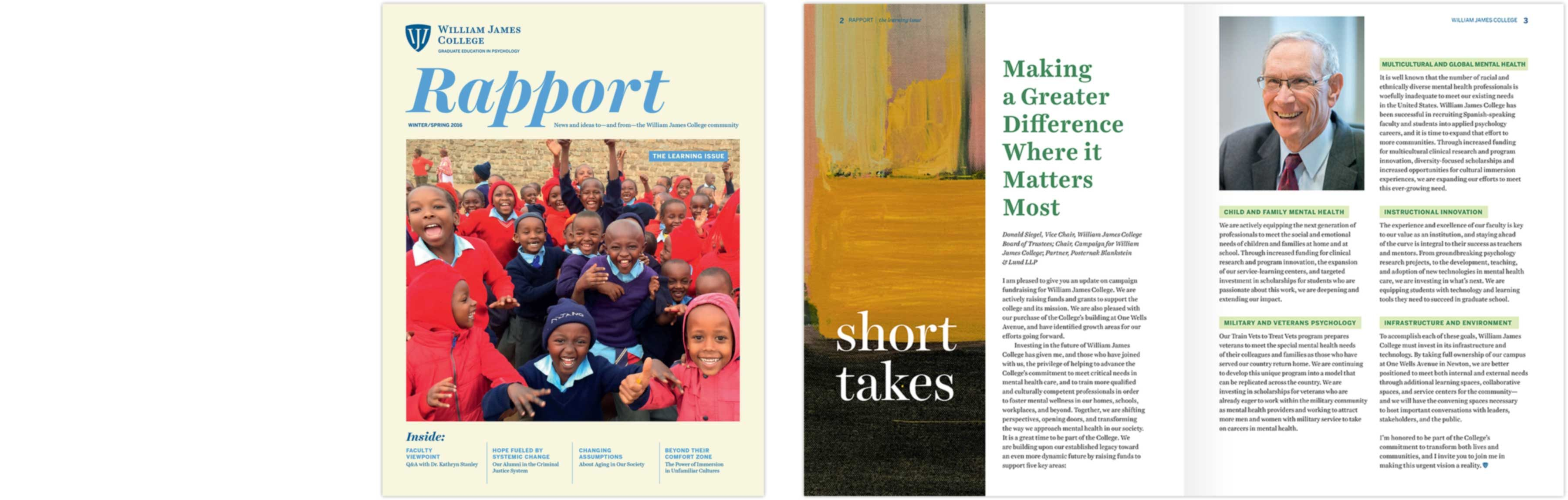 William James College Rapport cover and interior spread: Making a Greater Difference Where it Matters Most