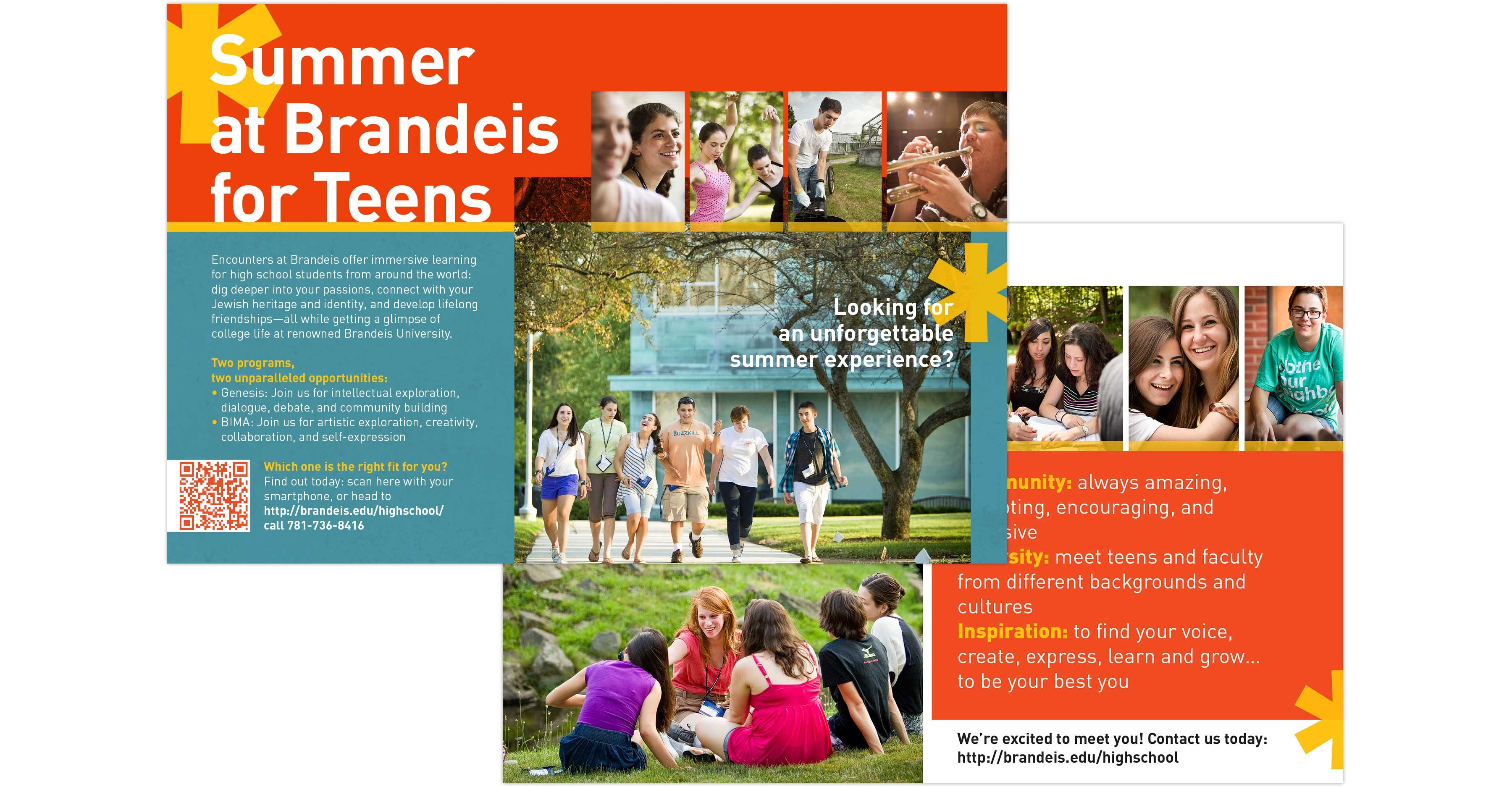 Brandeis High School Program postcard front and back view: Summer at Brandeis for Teens
