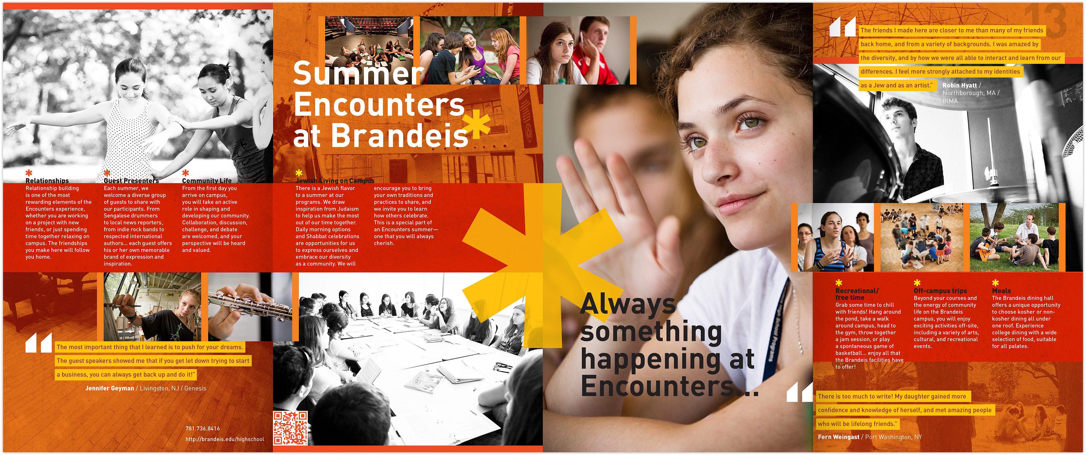 Brandeis High School Program Viewbook interior spread: Always something happening at Encounters...