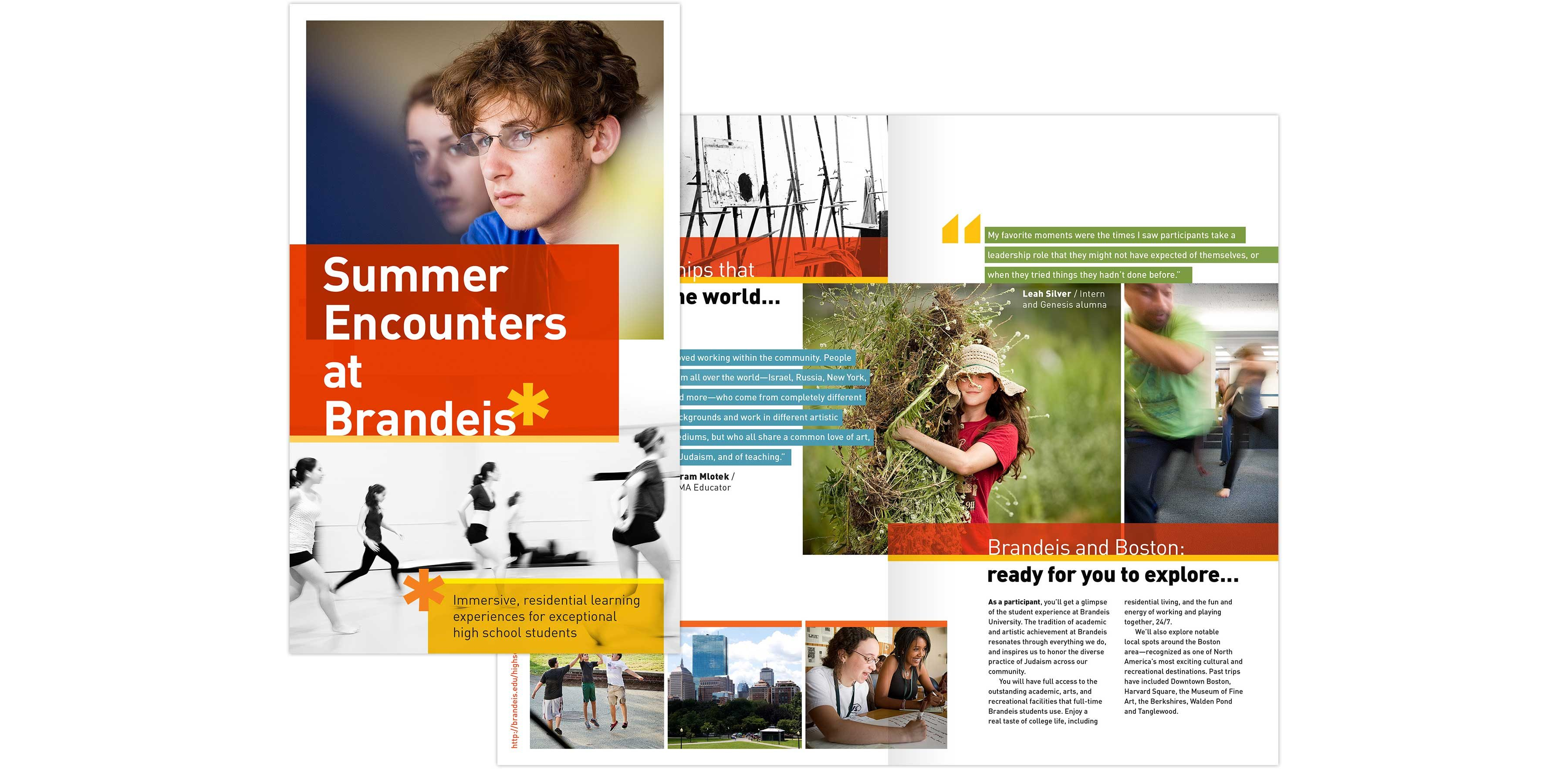 Brandeis High School Program viewbook cover and interior spread: Summer Encounters at Brandeis