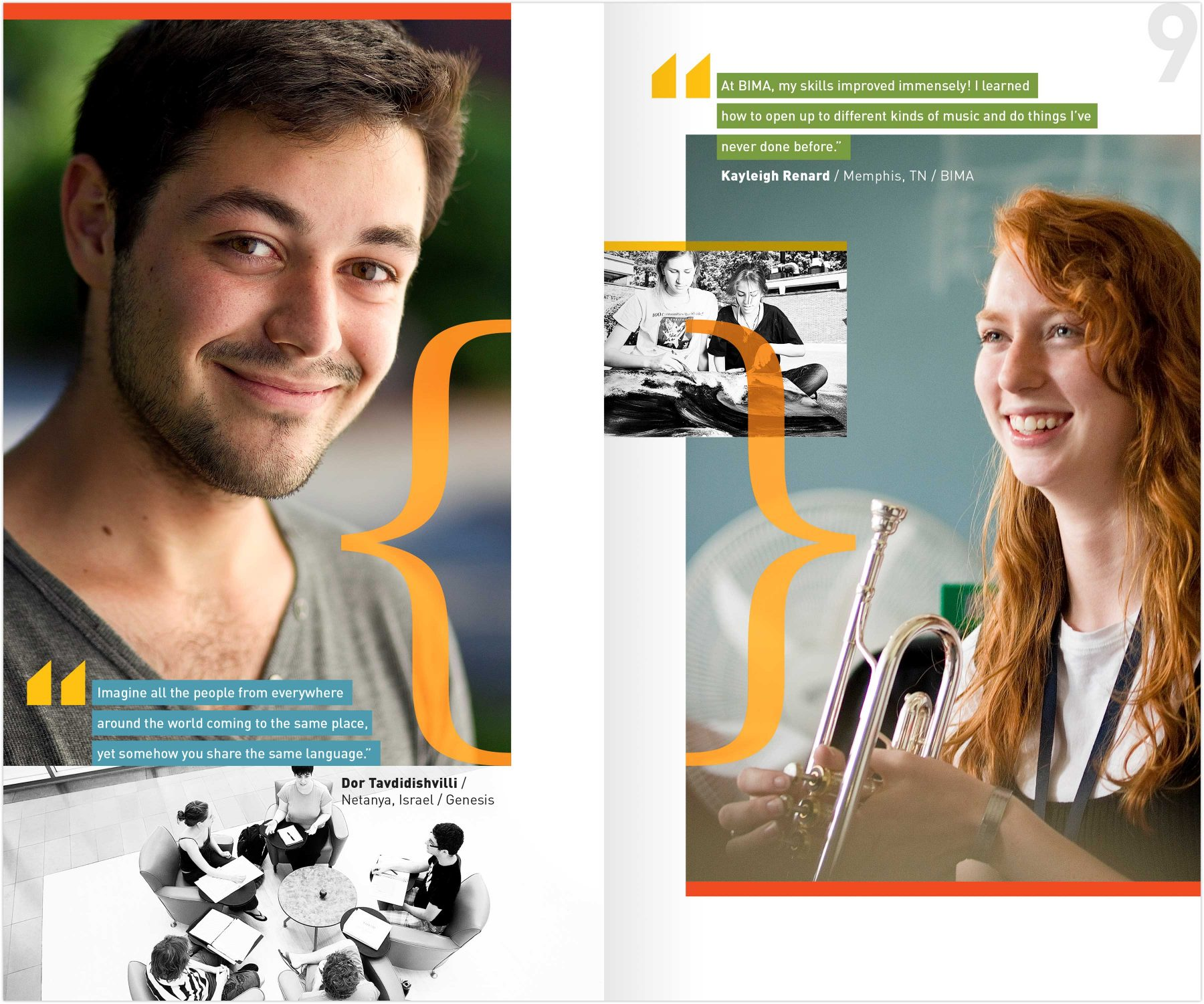 Brandeis High School Program viewbook interior spread: student spotlights