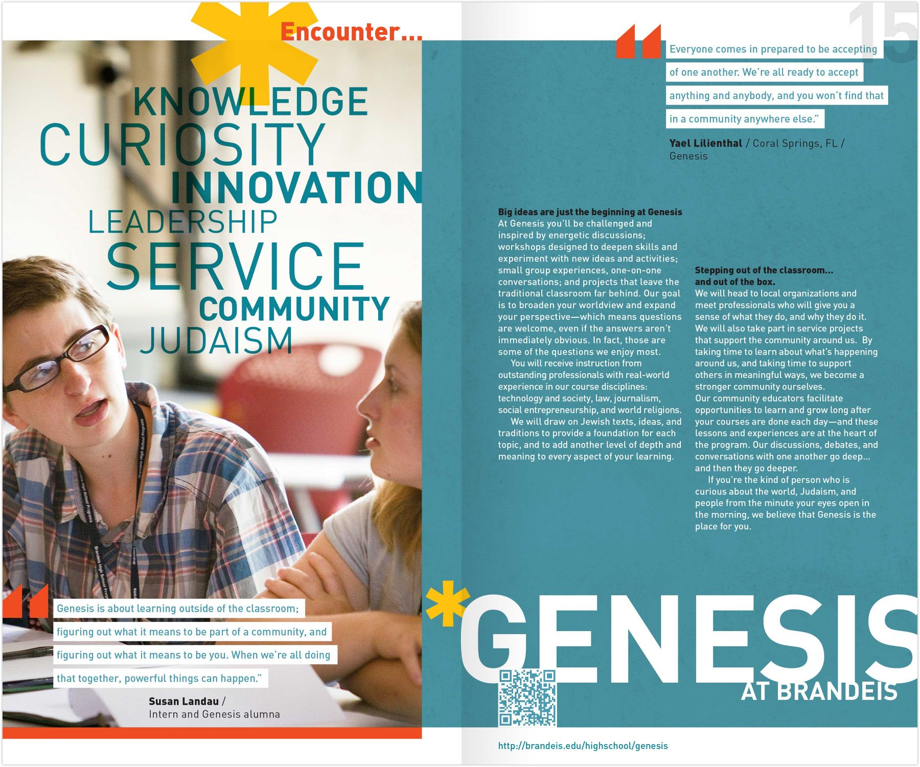 Brandeis High School Program viewbook interior spread: Genesis at Brandeis