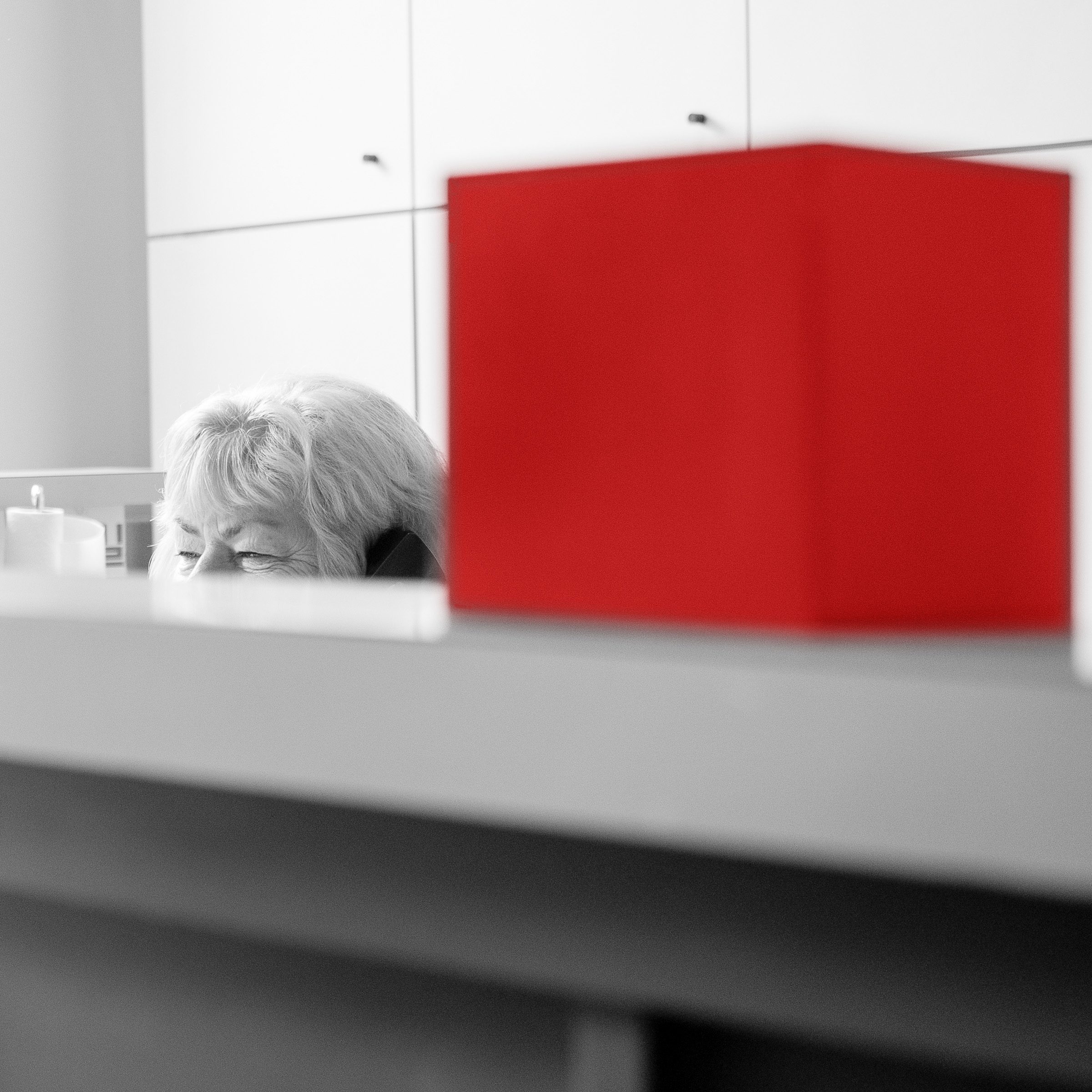 Donna Feetham in black and white, sitting at her desk, on the phone, with a bright red cube in the foreground