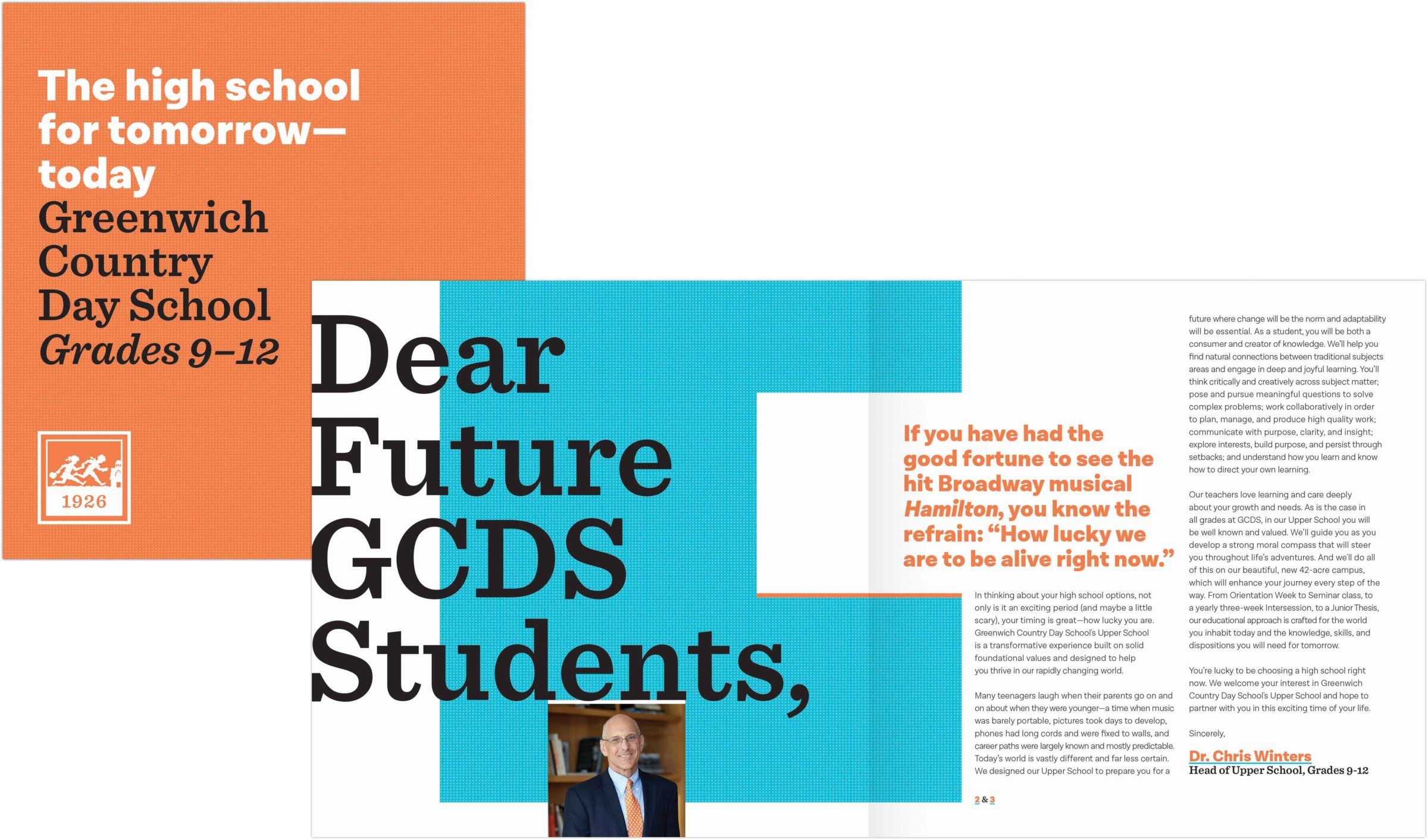greenwich country day school 9-12 Focus Piece cover and spread