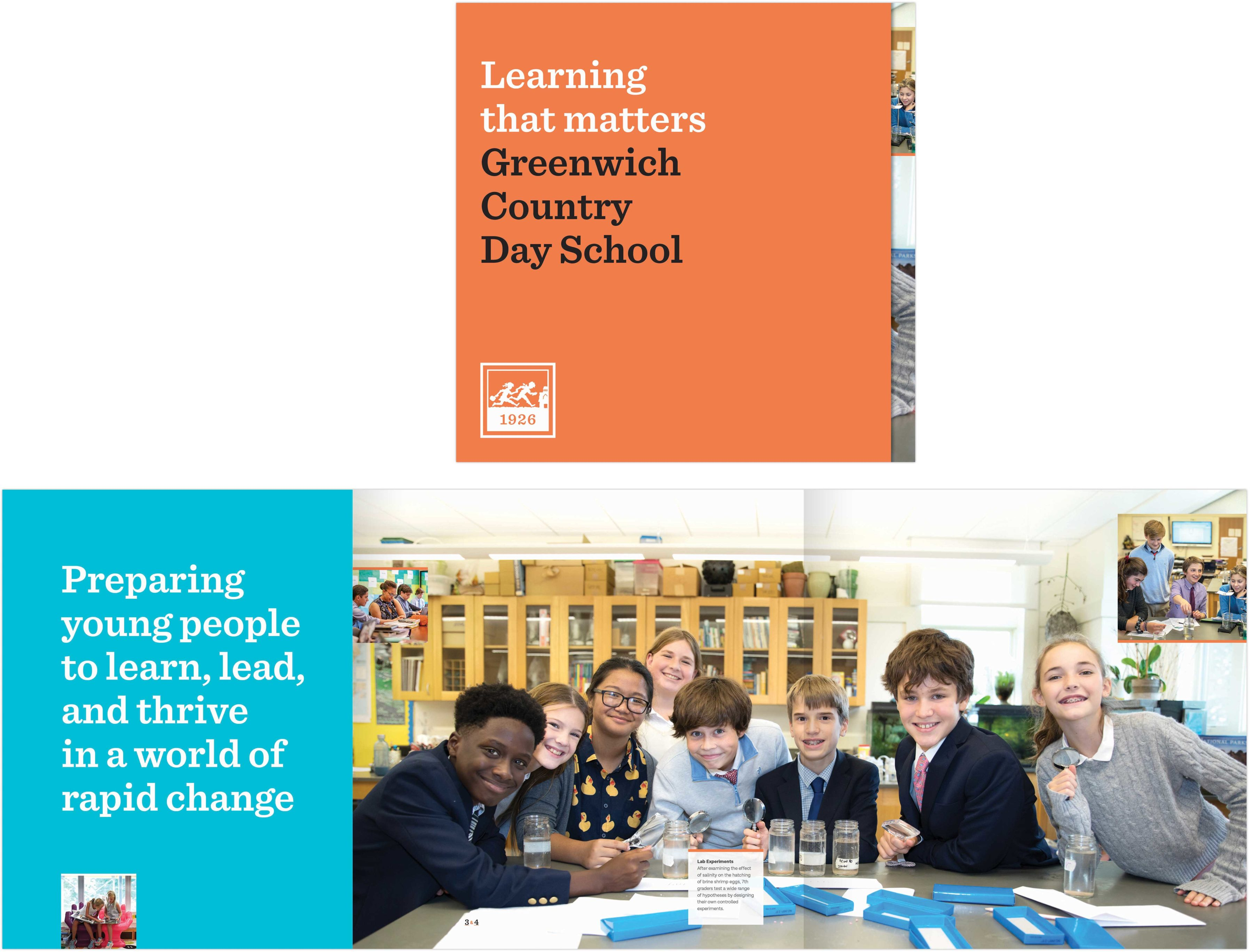greenwich country day school view book cover and spread