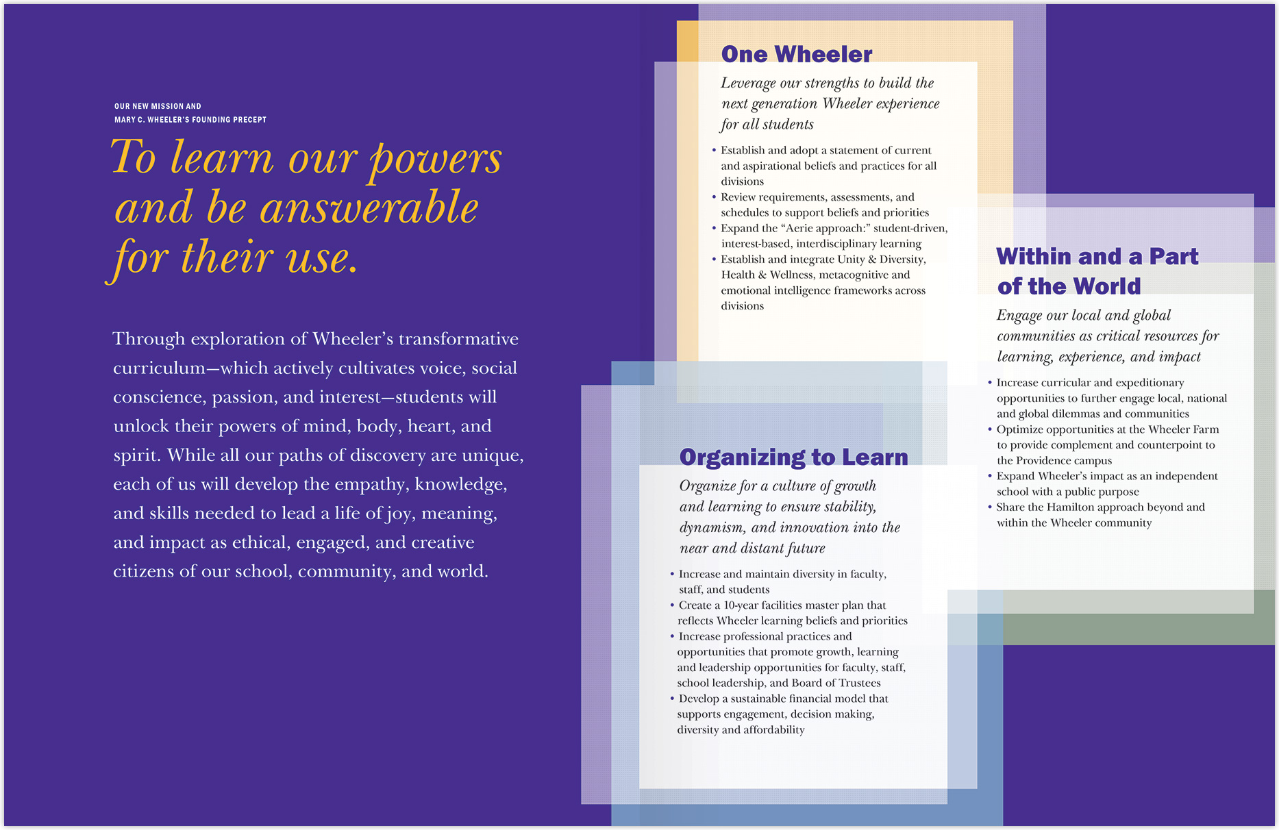 Wheeler School mission statement document - interior spread