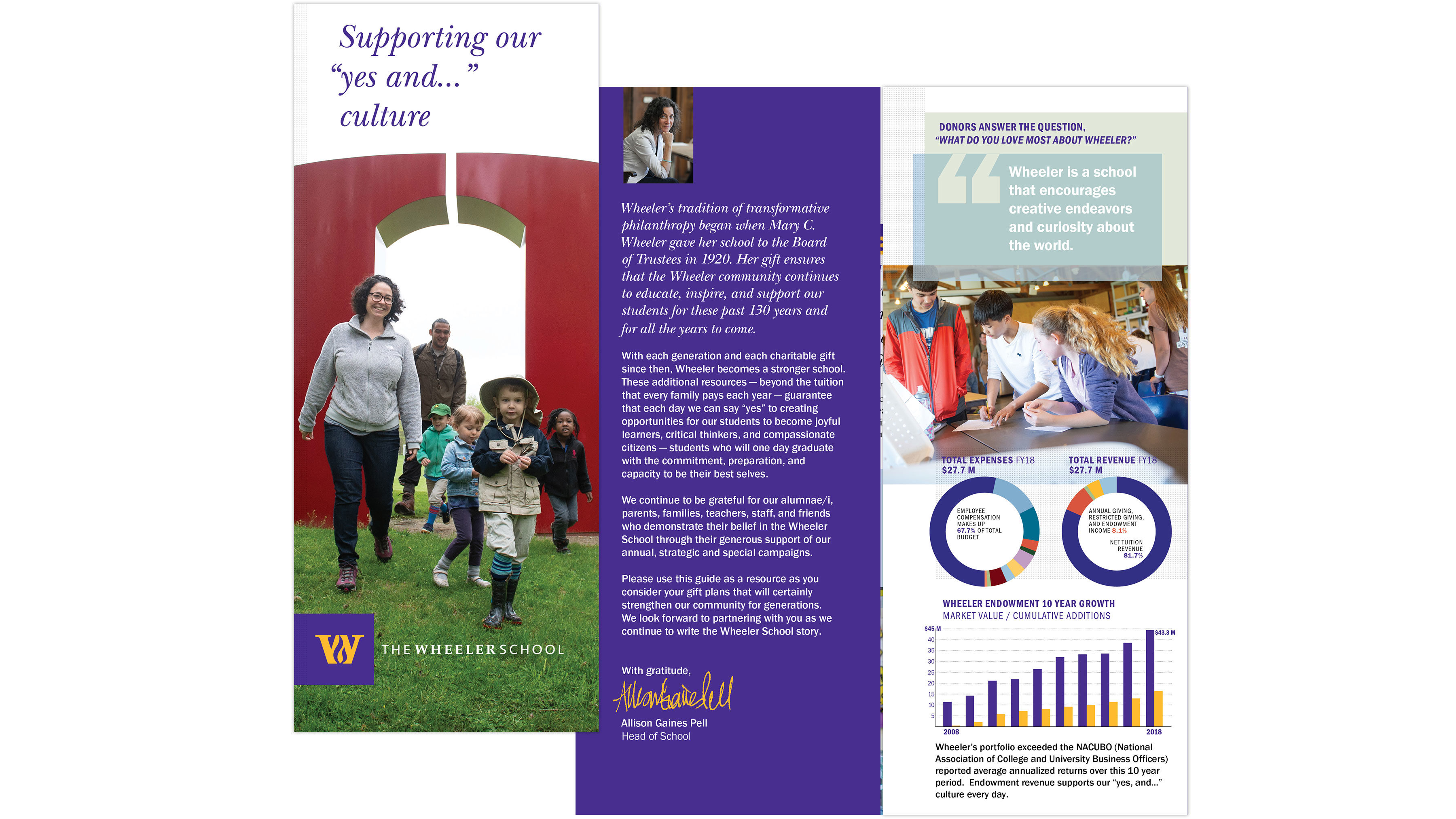 Philanthropy brochure cover and spread